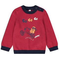Pull en tricot avec motif printé et col pressionné