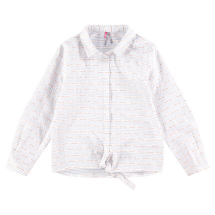Junior - Chemise manches longues à fines rayures et liens à nouer