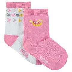Lot de 2 paires de chaussettes avec motifs en jacquard