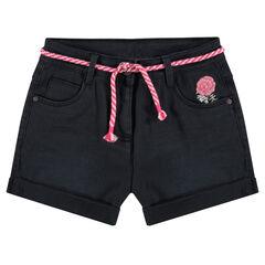 Junior - Short uni effet crinkle avec fleurs brodées et cordelette ajustable
