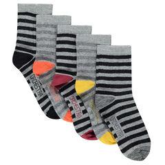 """Set met 5 paar sokken met strepen """"all-over"""""""