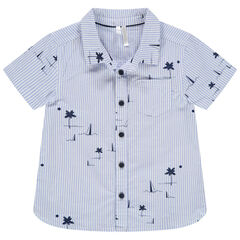 """Hemd met korte mouwen en """"all-over"""" streepjes en motiefjes"""