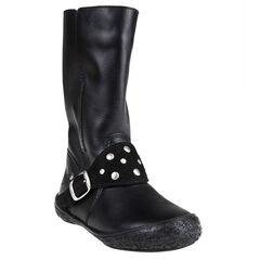 Laarzen in leder gespen in zwarte kleur met studs