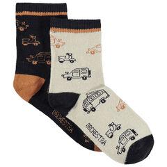 Lot de 2 paires de chaussettes assorties motif voitures et camions