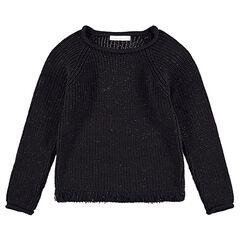 Junior - Trui van tricot vermengd met blinkende draad en franjes