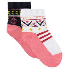 Lot de 2 paires de chaussettes assorties à motif ethnique