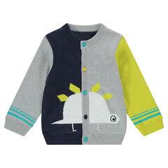 Gilet en tricot avec dinosaure en jacquard et boutons contrastés