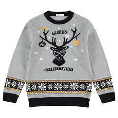 Junior - Pull en tricot avec cerf et motif vintage en jacquard