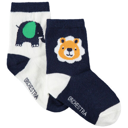 Lot de 2 paires de chaussettes assorties avec animaux de la jungle