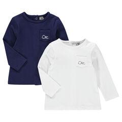 Lot de 2 tee-shirts manches longues avec poche et logo printé