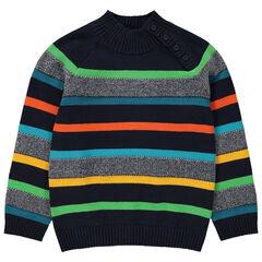 Pull en tricot à col montant et rayures colorées
