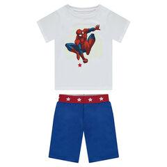 Korte pyjama van jerseystof met fluorescerende print van ©Marvel Spiderman