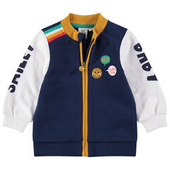 Vest van molton in campusstijl met ©Smiley-details