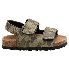 """Sandalen met textuur, legermotief """"all-over"""" en zool met kurkeffect"""