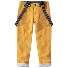 Pantalon en velours côtelé doublé jersey à bretelles amovibles