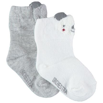 Set met 2 paar sokken met grijze/witte koala's