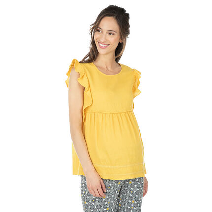 Geel zwangerschapstopje met korte mouwen met volants