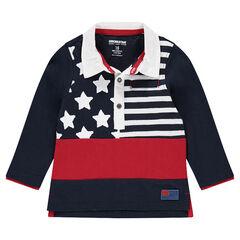 Polo manches longues en jersey slub avec print style drapeau