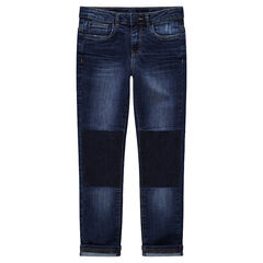 Junior - Jeans met used en crinkle effect met contrasten
