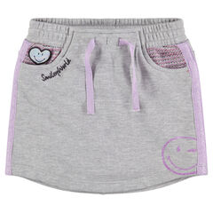 Jupe short en molleton avec badge et print ©Smiley