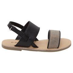 Nu-pieds en cuir avec bride dorée