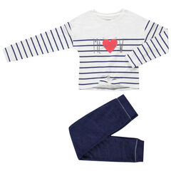 Ensemble avec t-shirt rayé à nouer et pantalon chiné