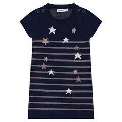 Robe manches courtes en tricot avec étoiles et rayures dorées