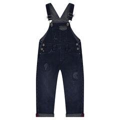 Tuinbroek lengte 3/4 van jeans met used effect