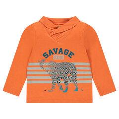 Tee-shirt manches longues avec col croisé et léopard printé