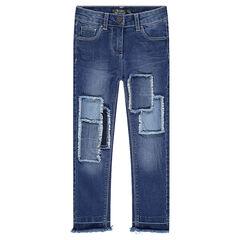Jeans met patches en franjes met used effect