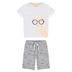 Pyjama van jerseystof met T-shirt met print met giraf met bril