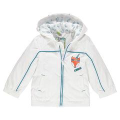Coupe-vent à capuche doublé jersey print renard