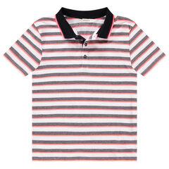 Junior - Polo manches courtes à rayures et col contrastés