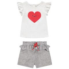 Ensemble avec t-shirt print coeur et short en maille chinée