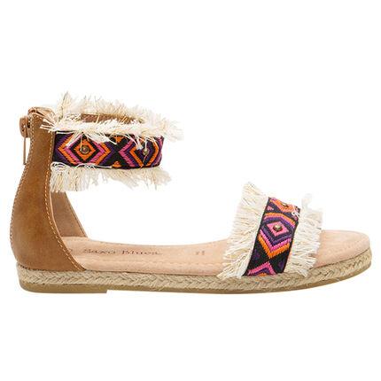 Nu-pieds avec brides à franges et broderies