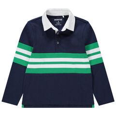 Junior - Polo met lange mouwen van jerseystof met contrasterende stroken