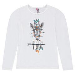 Junior - Tee-shirt manches longues en jersey avec girafe printée