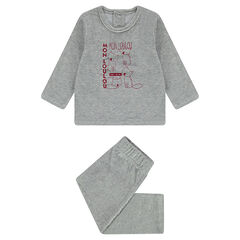 Pyjama van velours met vossenprint