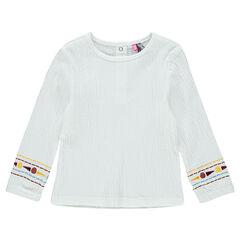 Tee-shirt manches longues en jersey froissé avec broderies