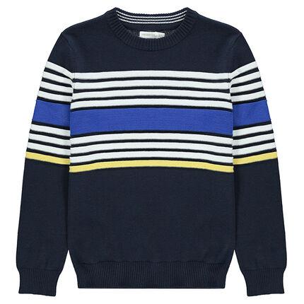 Junior - Pull en tricot avec bandes contrastées en jacquard