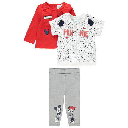 Jogging 3 pièces en jersey print Mickey et Minnie Disney