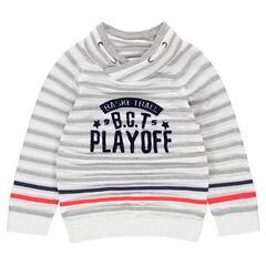 Pull en tricot à rayures all-over avec inscription printée et col fantaisie