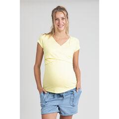 T-shirt manches courtes de grossesse et d'allaitement jaune