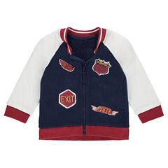 Vest van molton uit drie kleuren met fantasieprints in wapenschildstijl