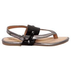 Zilveren en zwarte sandalen met slippereffect