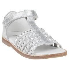 Open schoenen in leder met klittenbandsluiting zilverkleur met rib afwerking