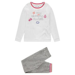 Junior - Pyjama en velours avec inscription printée et broderies