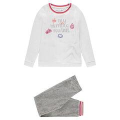 Junior - Pyjama van velours met print met opschrift en borduurwerk
