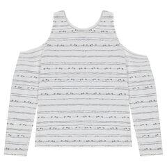 Junior - T-shirt met lange mouwen, ontblote schouders en strepen