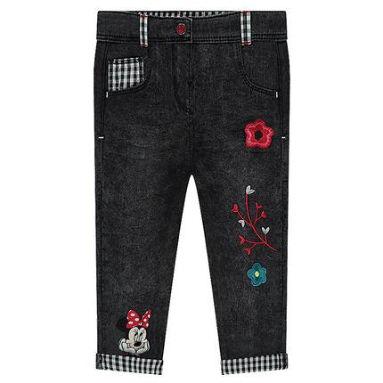 Slim-fit jeans met used effect en borduurwerk van Disney's Minnie